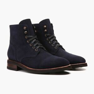 971919fb58a77 Image is loading Handmade-Men-Navy-blue-Suede-ankle-boots-Mens-