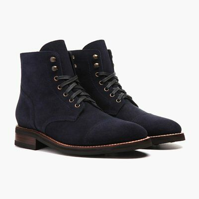 Handmade Men Navy blue Suede ankle