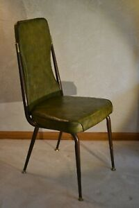 Vtg Chromcraftmcm 1960 S Kitchen Dining Room Dark Avocado Green Floral Chair Ebay