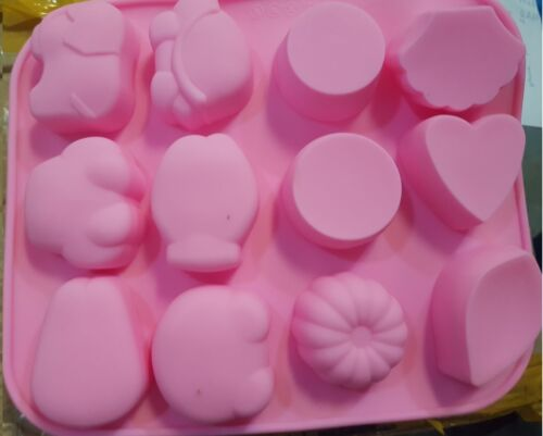 12-Fish Bear Rabbit Cake Mold Soap Mold Silicone Mold Soap Mould Biscuit Mold