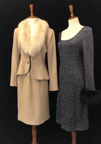 80s LOT OF 2, METALLIC AND FOX FUR TRIMMED DRESS A