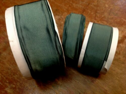 """VINTAGE FRENCH RIBBON 5//8/"""" 7//8/"""" or 1.5/"""" SOLID FERN GREEN 1yd Made in France"""