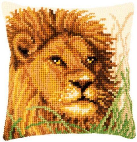 Orificio grande de león Impreso Tapiz Cojín De Lona Kit Grueso Punto De Cruz Vervaco
