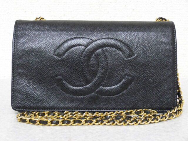 6c25bf5ee3654 rw4817 Auth CHANEL Black Caviar Leather Classic CC WOC Wallet On Chain Bag  GHW