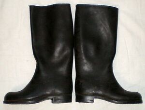 ca2320f1e0c98 Details about Vintage Russian Soviet Army Military Rubber Boots USSR 1965  Black Combat Rain 40