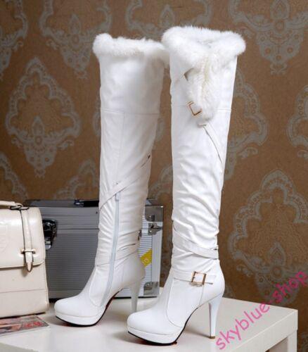 Womens Slouch Warm Fur Trim Stiletto High Heels Slim Over Knee High Knight Boots