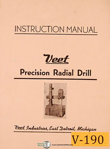 veet 32 x 50 radial drill instructions and parts manual ebay rh ebay com