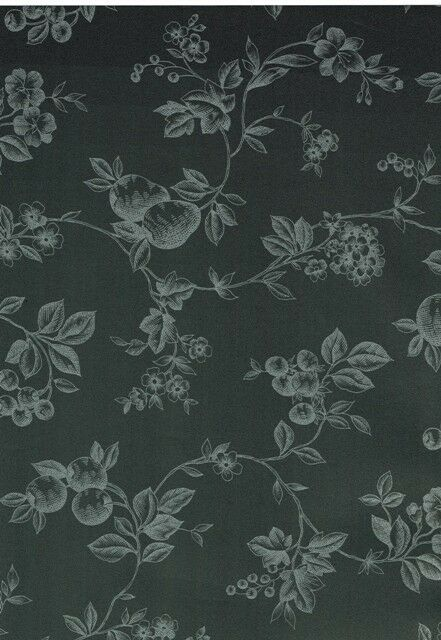Striking Fruit /& Floral Silver on Black Toile  Wallpaper-Double roll
