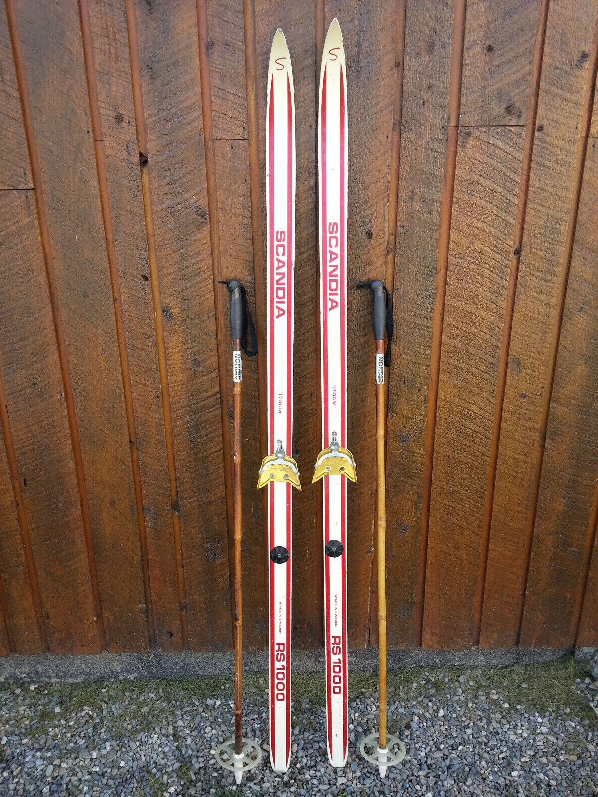 VINTAGE Wooden 67   Skis Has  RED WHITE Finish Signed SCANDIA + Bamboo Poles  lowest whole network