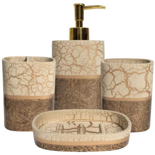 Parker Poly Resin Bath Accessory Collection 4 Piece Bathroom Set