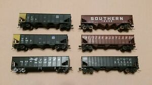HO-Scale-Roundhouse-Stewart-and-Bachmann-3-Bay-Coal-Cars-WM-UP-NYC-Sou-D-amp-RGW