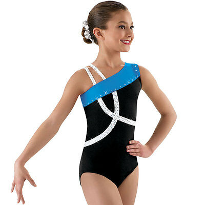 NEW Asymmetrical Black Rhinestone Stones Dance Gymnastics Leotard Child Adult