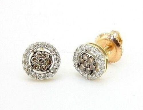 10K or Jaune Marron Chocolat et Blanc Diamant Boucles d/'oreilles grappe Rivets .25 Ct