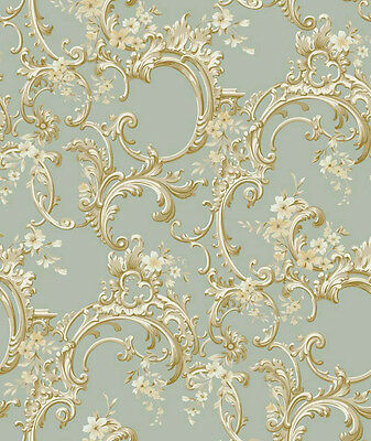 3 ROLL LOT - Elegant Floral Trail Seafoam Wallpaper