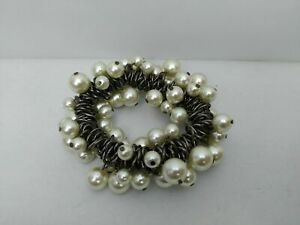 Faux-Pearl-amp-Gun-Metal-Links-Large-Stretchy-Bracelet-Pre-owned
