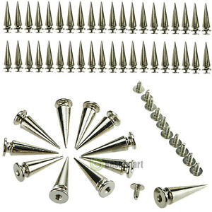 50pc 26mm Silver Spots Cone Screw Metal Studs Leather Craft Rivet Bullet Spikes