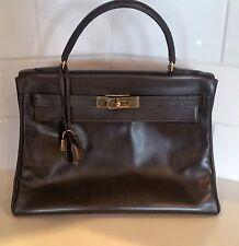 Hermes 28cm Marron Fonce Calf Box Leather Retourne Kelly Bag with Gold Hardware