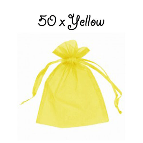 Yellow Organza Gift Pouch Wedding Favour Jewellery Bags in 23 Colours /& 9 Sizes