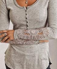 Fashion Women Summer Button Top Long Sleeve Blouse Casual Tank Tops T-Shirt Lace