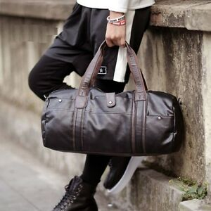 2bb31643474b Image is loading Men-Large-Capacity-Luggage-Leather-Travel-Shoulder-Bag-