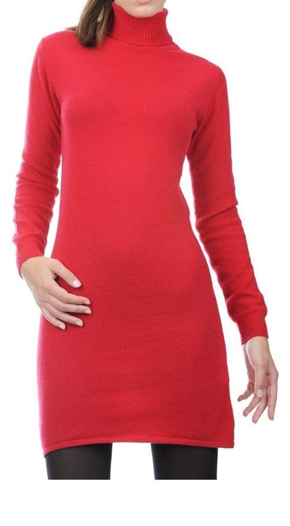 Balldiri 100% Cashmere Damen Kleid Rollkragen  2-fädig samtrot S