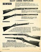 1976 Print Ad Navy Arms Hawken Hunter & Hurricane 1802 Blunderbuss Buffalo Rifle
