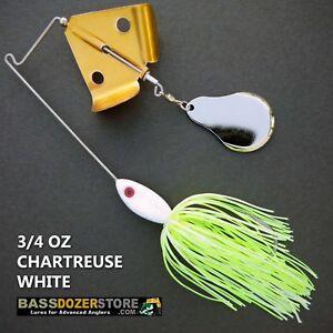 Buzzbait-CHOPPER-3-4-oz-CHARTREUSE-WHITE-buzz-bait-buzzbaits-KVD-trailer-hook
