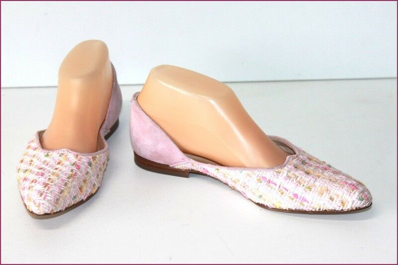 RENOUARD Court shoes Sharp  pointed Suede and Wool Pink Small Heels T 37.5