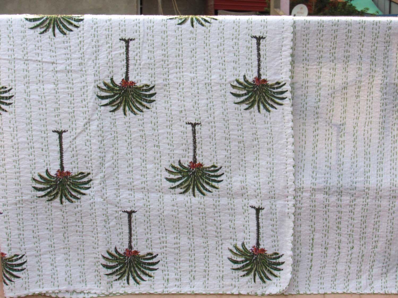 Indian Handmade Tree Deign Quilt Kantha Bedspread Throw Cotton Blanket Queen