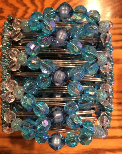 Exquisite African Bead Work EZ Stretch Comb Hand Made Hair Comb 9 Tooth