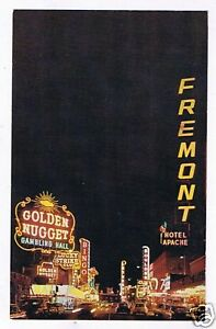 Fremont-Street-At-Night-Glitter-Gulch-Early-1950-039-s-PC
