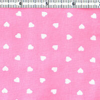 "POLYESTER COTTON BLEND CLOTH DRESS FABRIC 5mm WHITE VALENTINE HERAT on PINK 44""W"