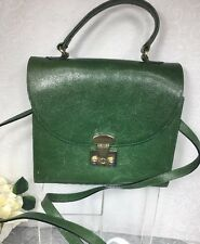 Furla VTG  Italian Leather Green Satchel Purse/Shoulder Bag Women Long Strap