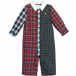 Ralph Lauren Polo Baby Boys Muti Plaid Tartan Coverall, NAVY MULT SIZE 3M