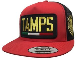 675090789d2 TAMAULIPAS  TAMPS  LOGO FEDERAL ALL GOLD 2 LOGOS HAT RED BLACK ...
