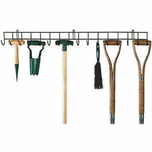 Extra Long Wall Mounted Garden Tool Holder Hanger Rack Organiser Rail 16 Hooks