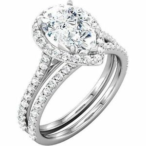 3 2 ct total pear shape amp round - Pear Shaped Wedding Ring Sets