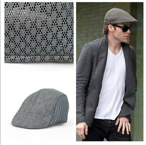 b02497d49b Details about Fashion Men's Breathable Mesh Opening Outdoor Golf Baker  Racing Hat Flat Caps LA