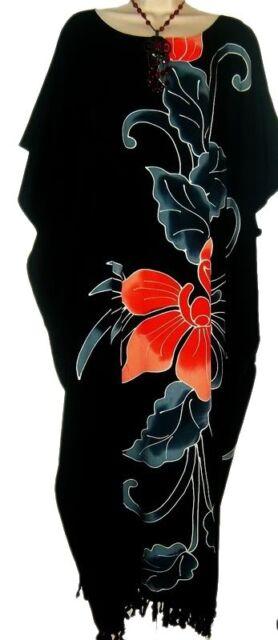 Amazing Black ORCHID Flower Kaftan Dress Floral Butter Soft Fabric Long Bali New