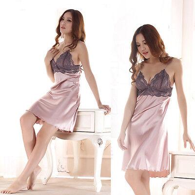 Charming Lace Robes Sleepwear Nightgown Dress Womens Rayon Silk Sleepshirt