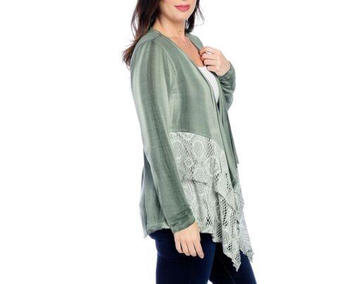 NEW One World Knit Tie-Dye Long Sleeve Lace Trim Cascade Cardigan Blush//Mauve