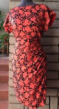 Oscar de la Renta Vintage Wiggle Pencil Resort Dress Silk Coral Orange Pink 4 6