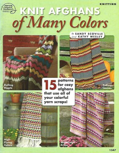 Knit Afghans of Many Colors 15 Scrap Knitting Instruction Patterns ASN 1347