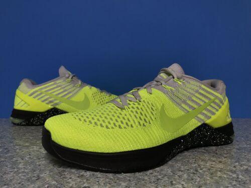 Nike Metcon 3 DSX Flyknit Volt Pure Platinum Black CrossFit SZ 9 852930-701
