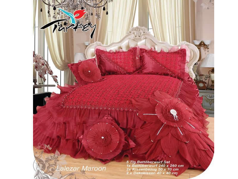 Tagesdecke XXL 5 teilig Lalezar Maroon Rot 240x260 Kissenbezüge Bettüberwurf