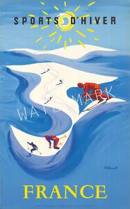 Unique-Vintage-Villemot-Sports-D-039-Hiver-Ski-Advertising-Print-Choice-of-2-sizes