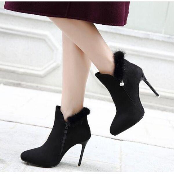 Stiefel Schuhe Stilett schwarz niedrig Stilettos 10.5 schwarz Stilett simil Leder CW738 532937