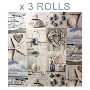 Wallpaper Nautical Pebbles Love Hearts