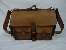 """16"""" Real Thick Camel Leather Briefcase Laptop Macbook Satchel Rustic Saddle Bag"""