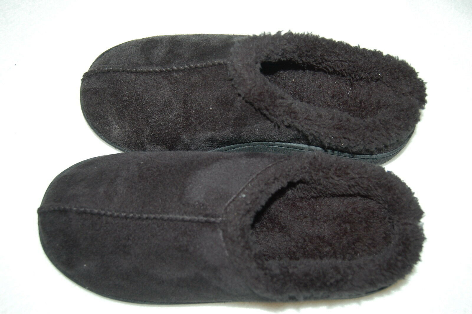 Womens BLACK SLIPPERS Slip On FAUX SUEDE Sherpa MEM FOAM Rubber Sole S 7-8